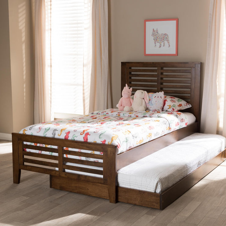 Baxton Studio Sedona Modern Classic Mission Style Brown-Finished Wood Twin Platform Bed with Trundle