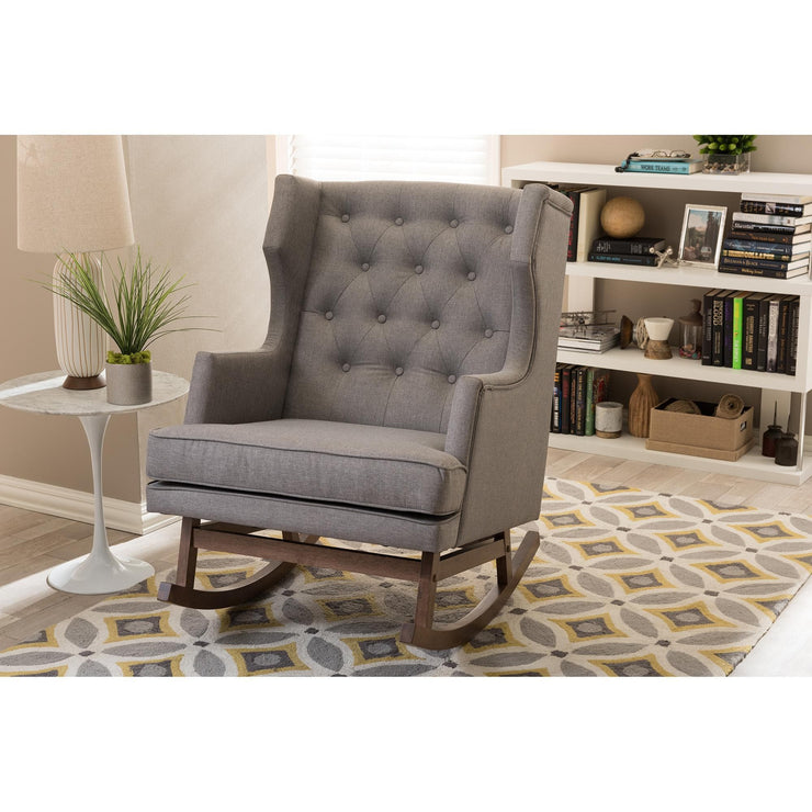 Baxton Studio Iona Mid-century Retro Modern Grey Fabric Upholstered Button-tufted Wingback Rocking Chair