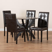Baxton Studio Elira Modern and Contemporary Dark Brown Faux Leather Upholstered and Dark Brown Finished Wood 5-Piece Dining Set