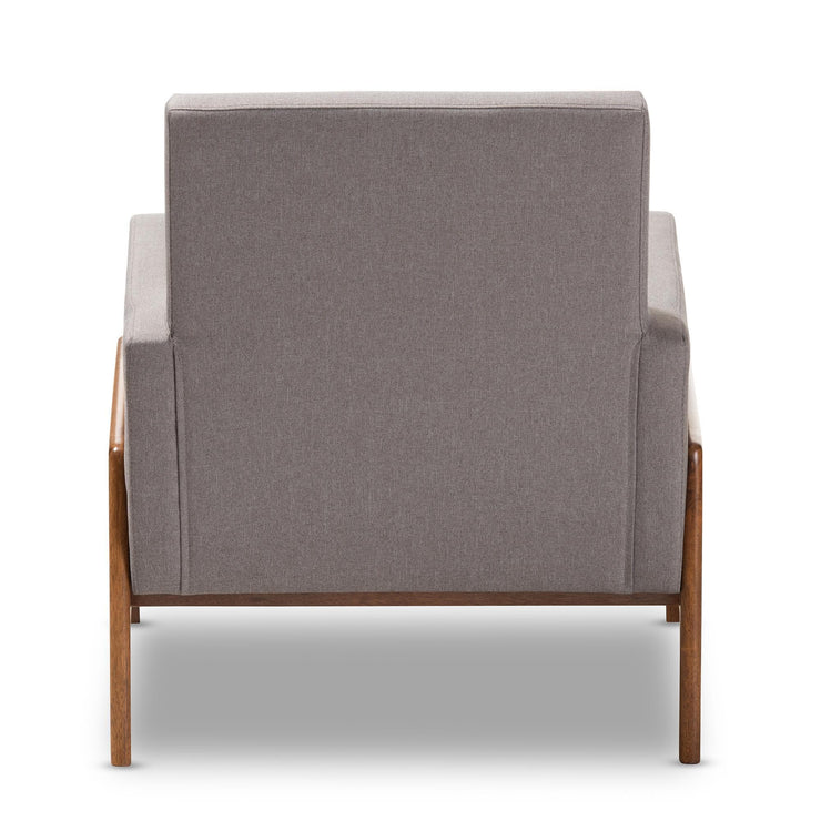 Baxton Studio Perris Mid-Century Modern Grey Fabric Upholstered Walnut Wood Lounge Chair