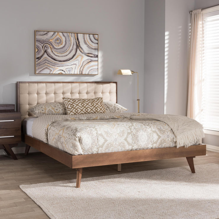 Baxton Studio Soloman Mid-Century Modern Light Beige Fabric and Walnut Brown Finished Wood Queen Size Platform Bed