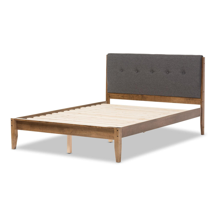 Baxton Studio Leyton Mid-Century Modern Grey Fabric Upholstered Queen Size Platform Bed