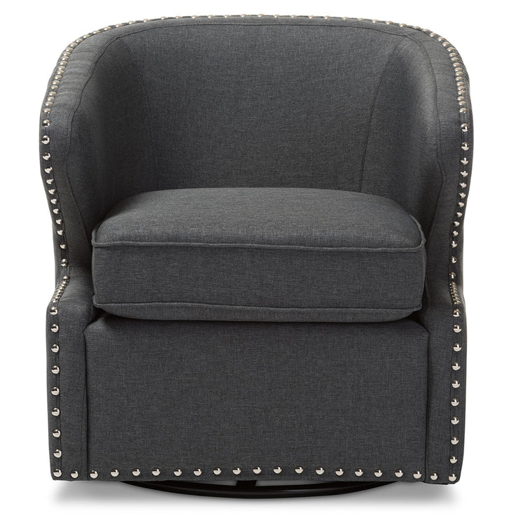 Baxton Studio Finley Mid-century Modern Grey Fabric Upholstered Swivel Armchair