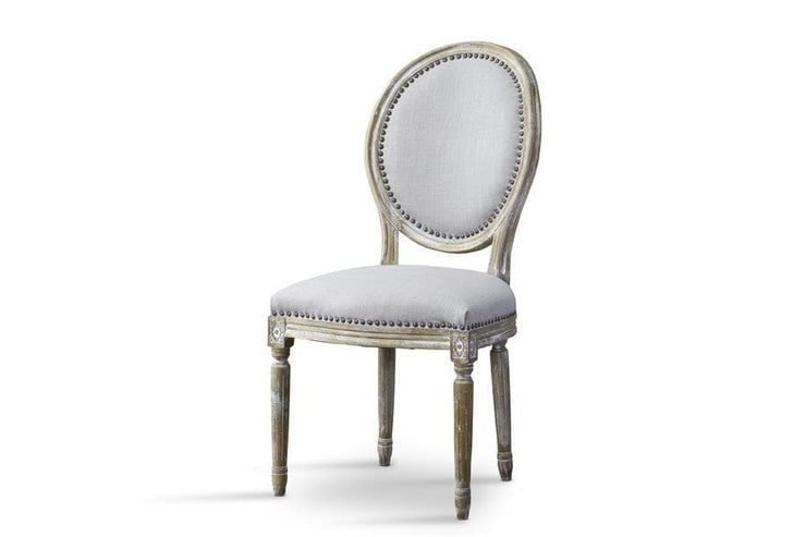 Baxton Studio Clairette Wood Traditional French Accent Chair-Round