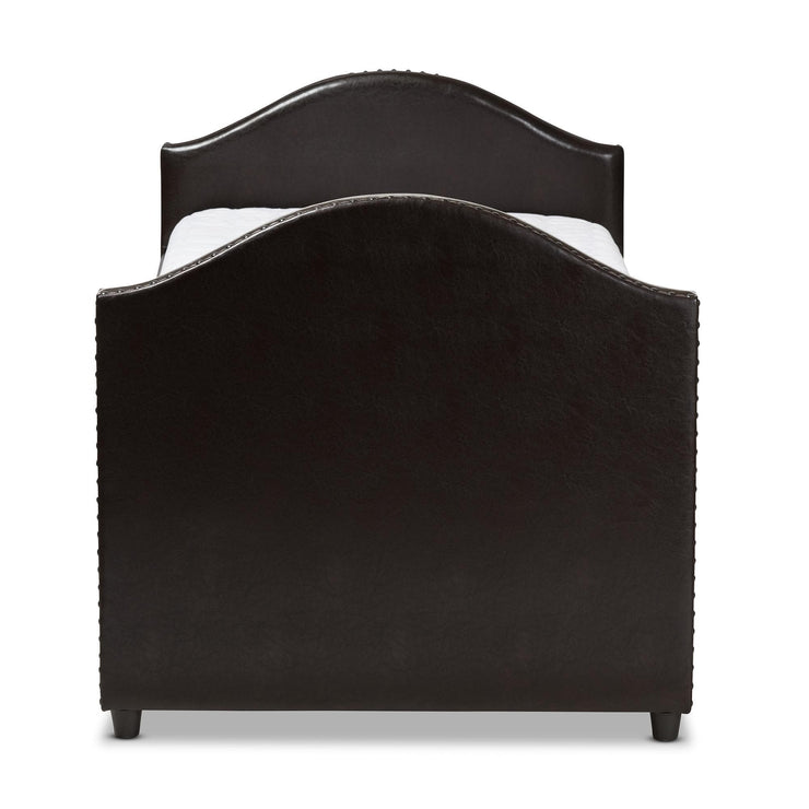 Baxton Studio Alessia Dark Brown Faux Leather Upholstered Daybed with Guest Trundle Bed