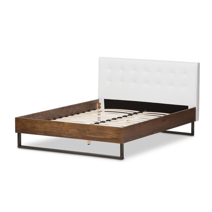 Baxton Studio Mitchell Rustic Industrial Walnut Wood White Faux Leather Dark Bronze Metal King Size Platform Bed