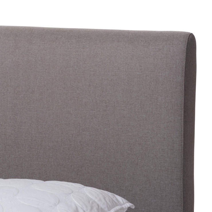 Baxton Studio Aveneil Mid-Century Modern Grey Fabric Upholstered Walnut Finished King Size Platform Bed