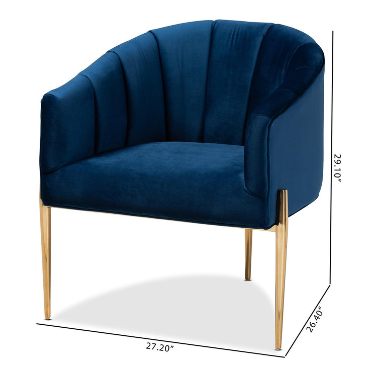 Baxton Studio Clarisse Glam and Luxe Navy Blue Velvet Fabric Upholstered Gold Finished Accent Chair