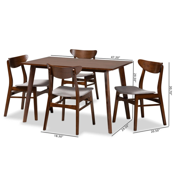 Baxton Studio Orion Mid-Century Modern Transitional Light Grey Fabric Upholstered and Walnut Brown Finished Wood 5-Piece Dining Set