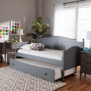 Baxton Studio Mara Cottage Farmhouse Grey Finished Wood Twin Size Daybed with Roll-Out Trundle Bed