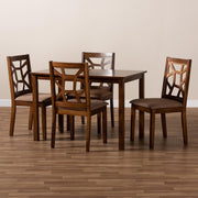 Baxton Studio Abilene Mid-Century Light Brown Fabric Upholstered and Walnut Brown Finished 5-Piece Wood Dining Set