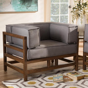 Baxton Studio Shaw Mid-Century Modern Grey Fabric Upholstered Walnut Wood Armchair