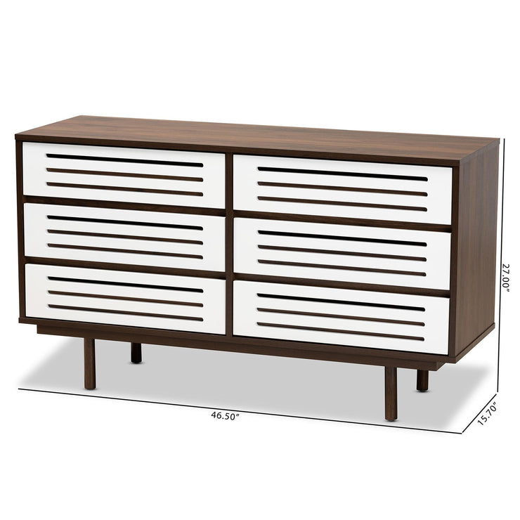 Baxton Studio Meike Mid-Century Modern Two-Tone Walnut Brown and White Finished Wood 6-Drawer Dresser