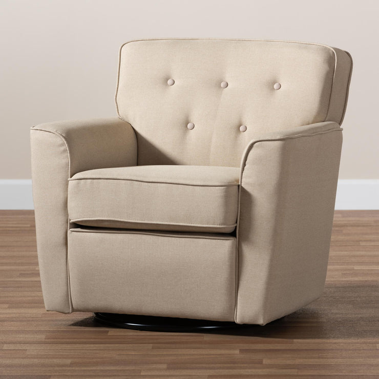 Baxton Studio Canberra Modern and Contemporary Beige Fabric Upholstered Button-tufted Swivel Armchair