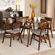 Baxton Studio Timothy Mid-Century Modern Transitional Light Grey Fabric Upholstered and Walnut Brown Finished Wood 5-Piece Dining Set