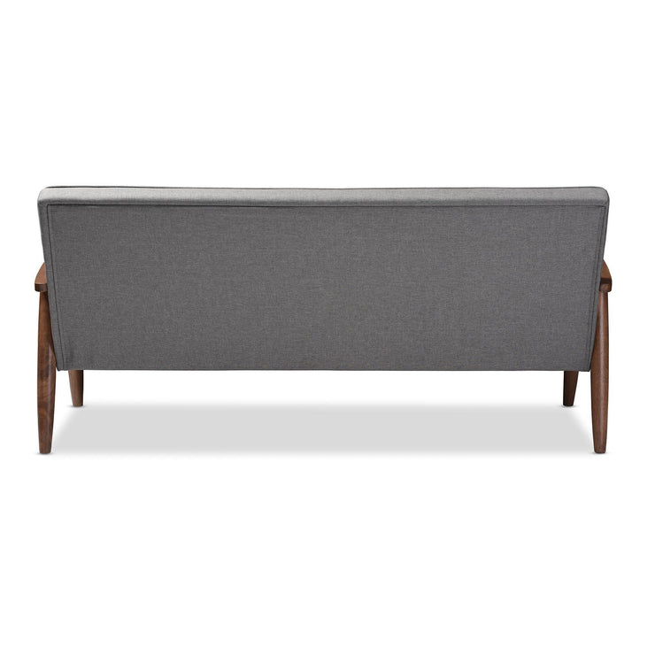 Baxton Studio Sorrento Mid-century Retro Modern Grey Fabric Upholstered Wooden 3-seater Sofa