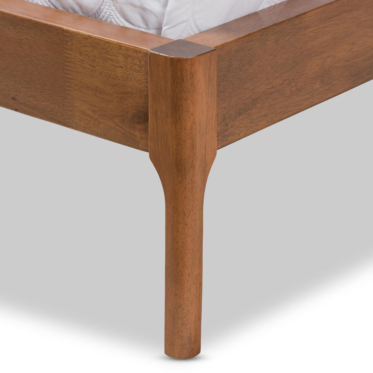 Baxton Studio Brooklyn Mid-Century Modern Walnut Wood Beige Fabric Full Size Platform Bed