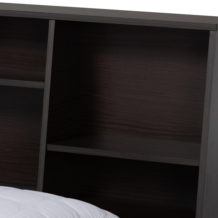 Baxton Studio Geoffrey Modern and Contemporary Dark Brown Finished Wood Queen Size Platform Storage Bed with Shelves