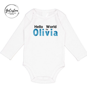 Personalised Newborn Hello World Girl Onesie