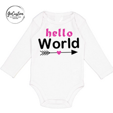 Load image into Gallery viewer, Personalised Newborn Hello World Arrow Girl Onesie
