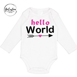 Personalised Newborn Hello World Arrow Girl Onesie