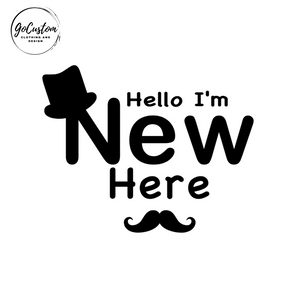 """Hello I'm New Here"" Baby Boy Birth Announcement Onesie"