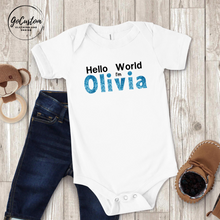Load image into Gallery viewer, Personalised Newborn Hello World Girl Onesie