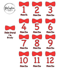 Load image into Gallery viewer, Personalised Bowtie Milestone Onesies Set x 13