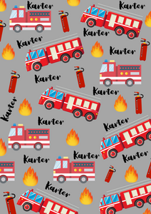 Personalised Name Fire Engine Theme Grey Super Soft Fleece Blanket