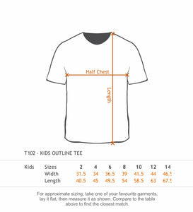 KIDS OUTLINE TEE - 100% Cotton 185gsm - Your Design Custom Printed