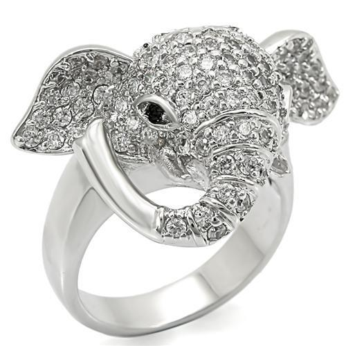 Elephant Rhodium Brass Ring with Top Grade Crystal