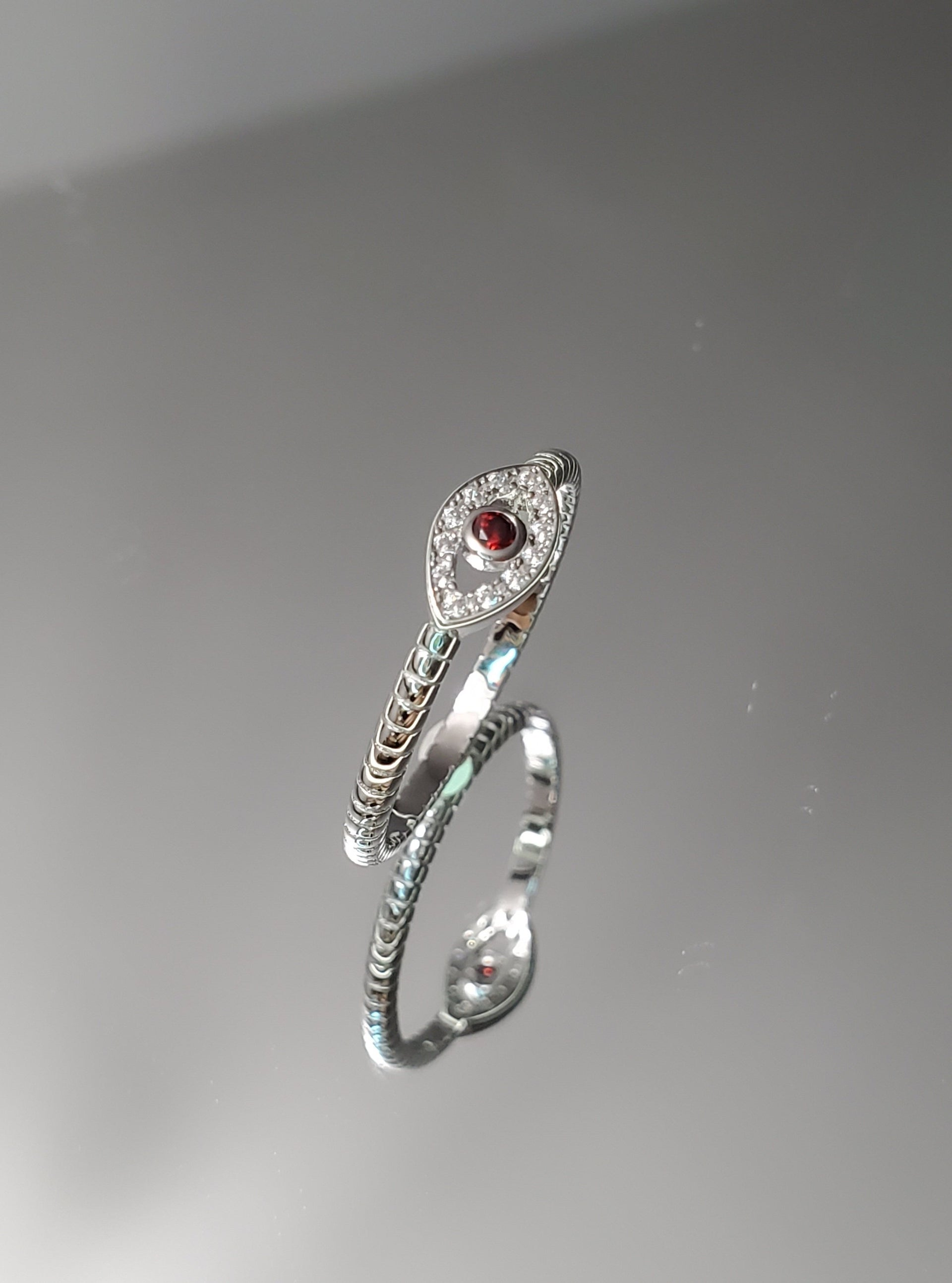 Evil Eye Sterling Silver Garnet Ring