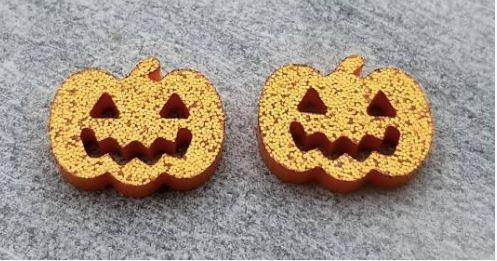 Orange Jack O Lantern Stud Acrylic Earrings