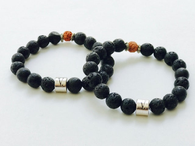 Men's Black Lava Beads Bracelet
