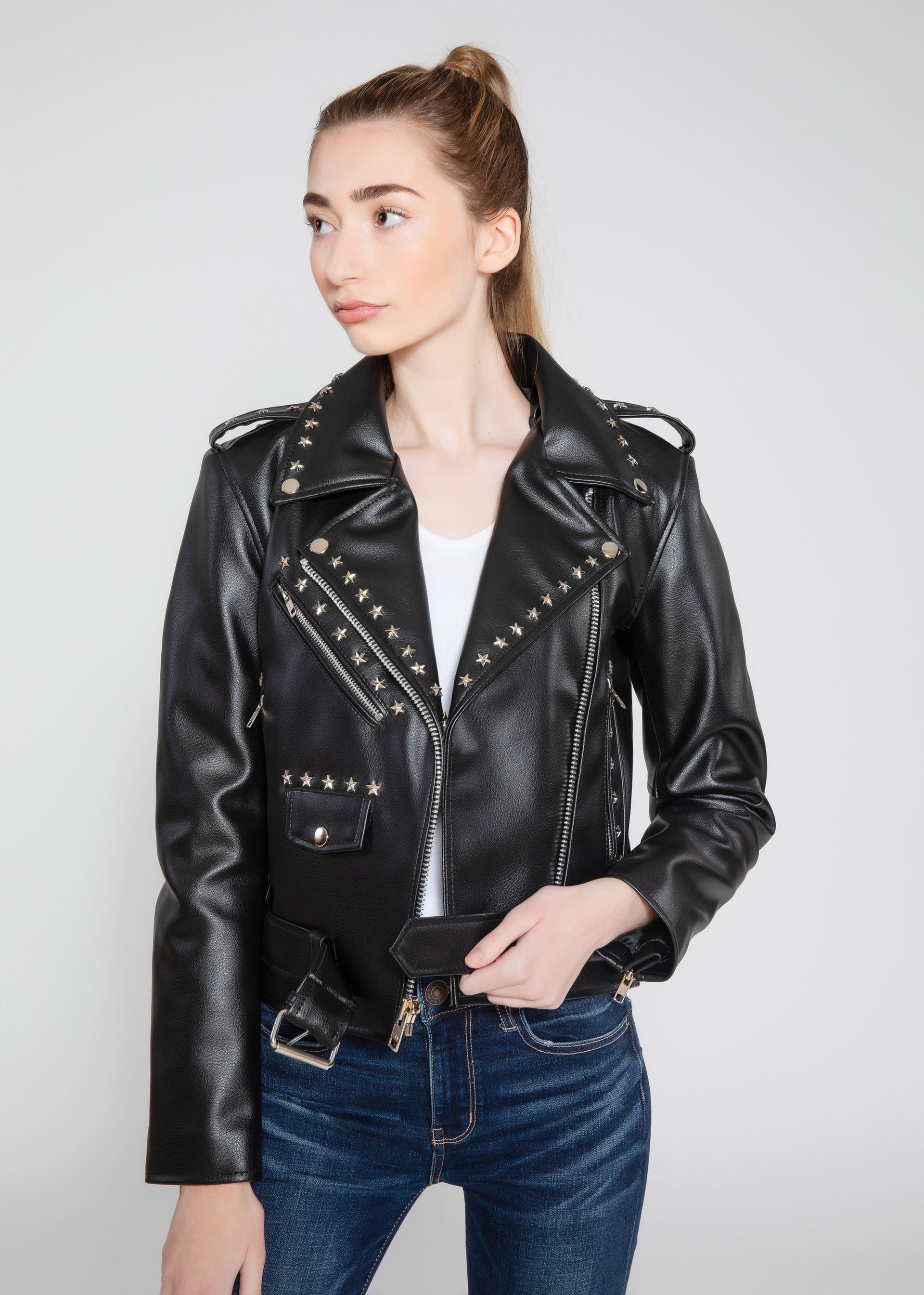 Star Studded Black Leather Jacket