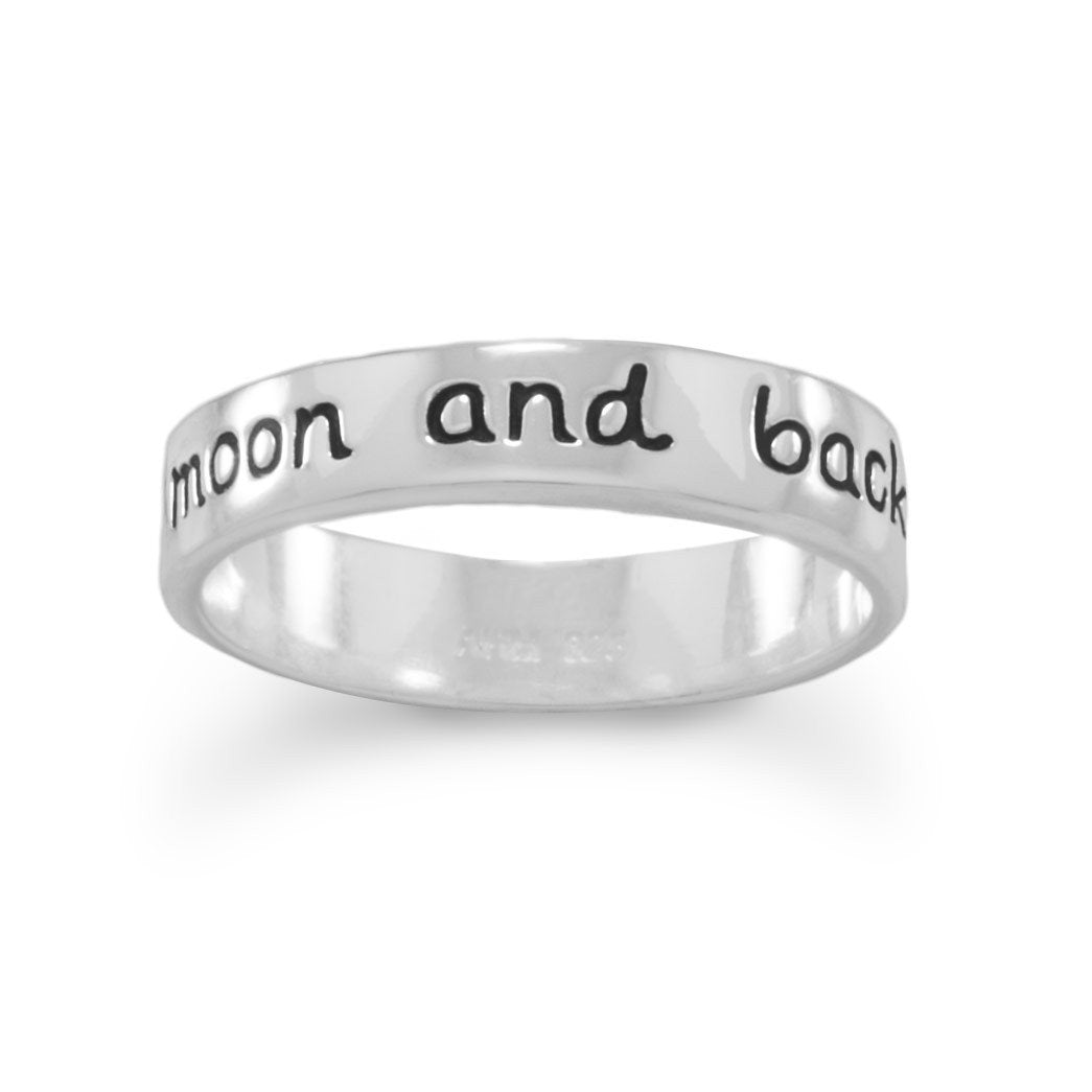 I Love You to the Moon and Back Silver Ring
