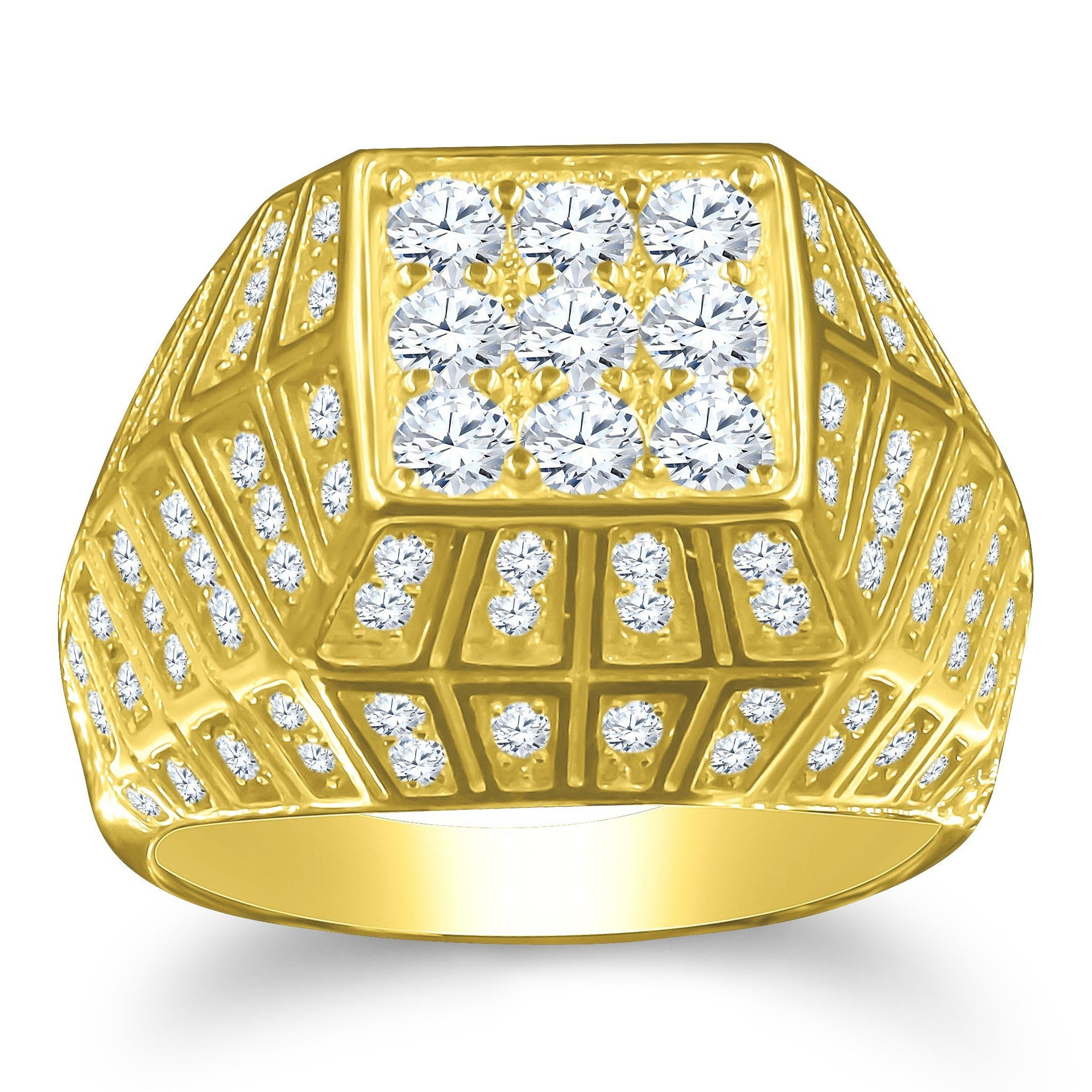 Mens Gold Bling Ring with Pure Silver Material