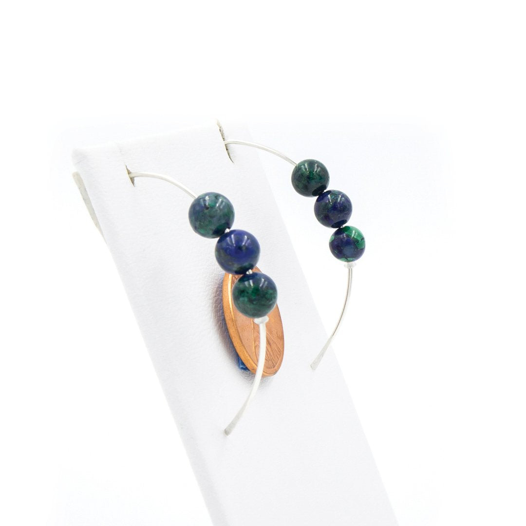 Azurite with Argentium Sterling Silver Curvy Earrings