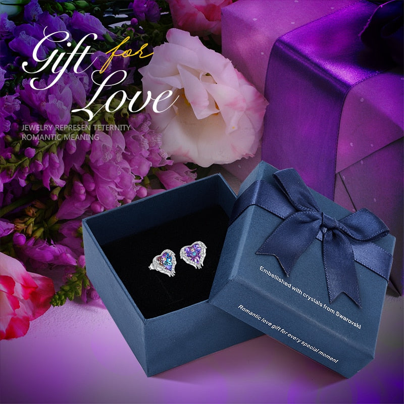Crystal Stud Angel Wing Heart Earrings from Swarovski