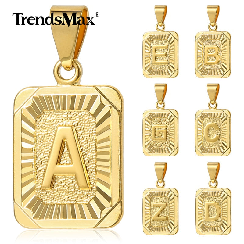 Unisex Gold Chain Pendant Charm Choose Your Letter