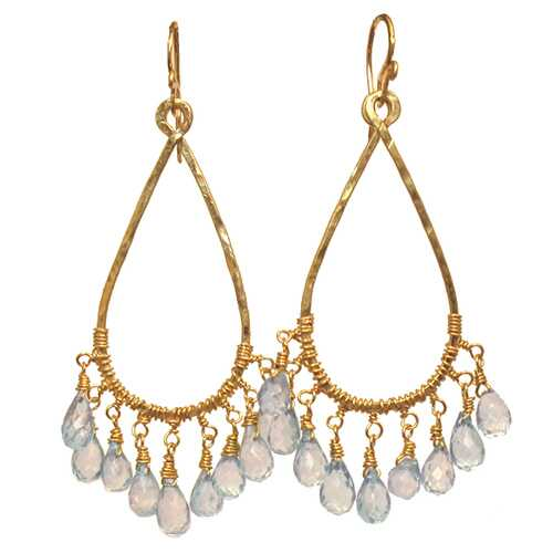 Handmade 14K gold-filled Aquamarine Earrings on filigree wire drops