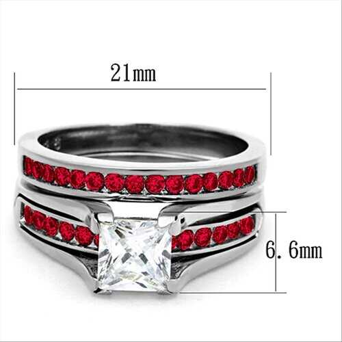 Red Stone AAA Grade Cubic Zirconia Silver Cocktail Ring