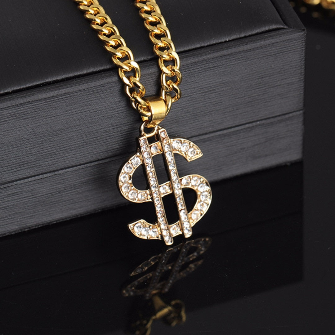 dollar sign necklace with diamonds