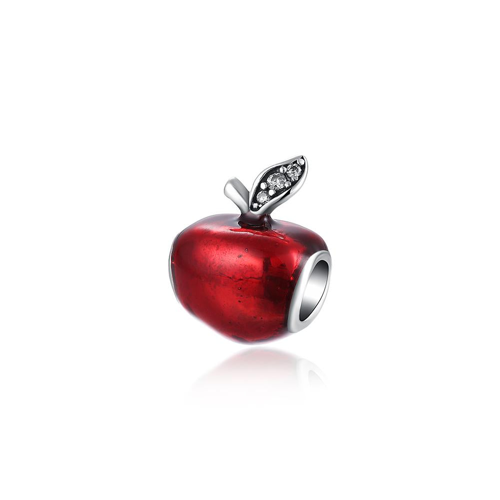 Sterling Silver Red Apple Charm