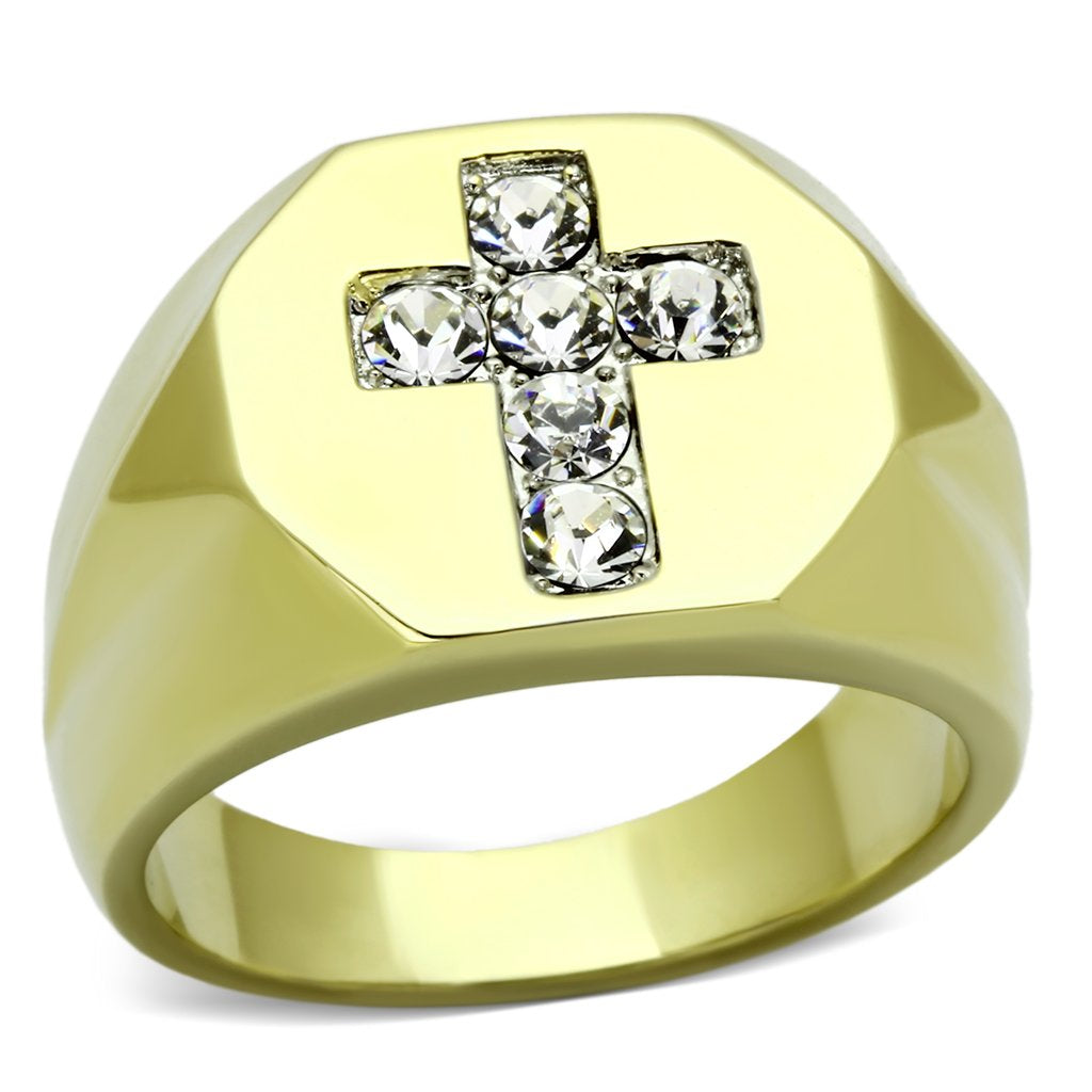 Holy Cross Bling Stainless Steel Synthetic Crystal Ring