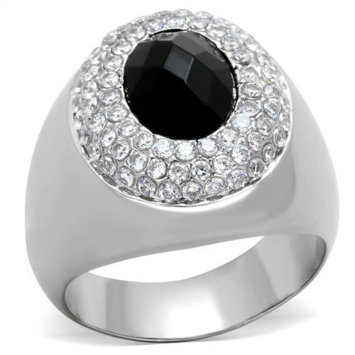 Black Opal Stone Men's Silver Ring