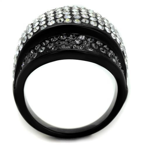 Women's Black Stainless Steel Synthetic Crystal Ring