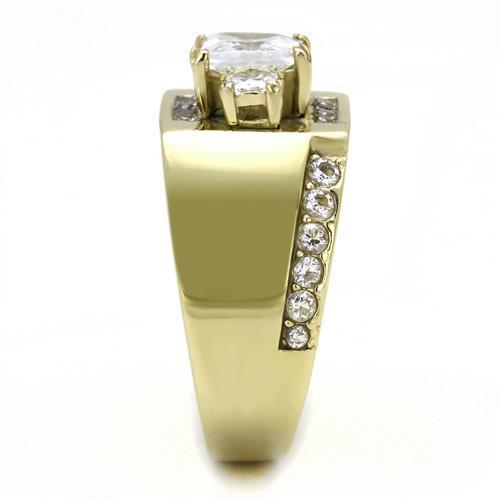 Stainless Steel Gold Cubic Zirconia Ring