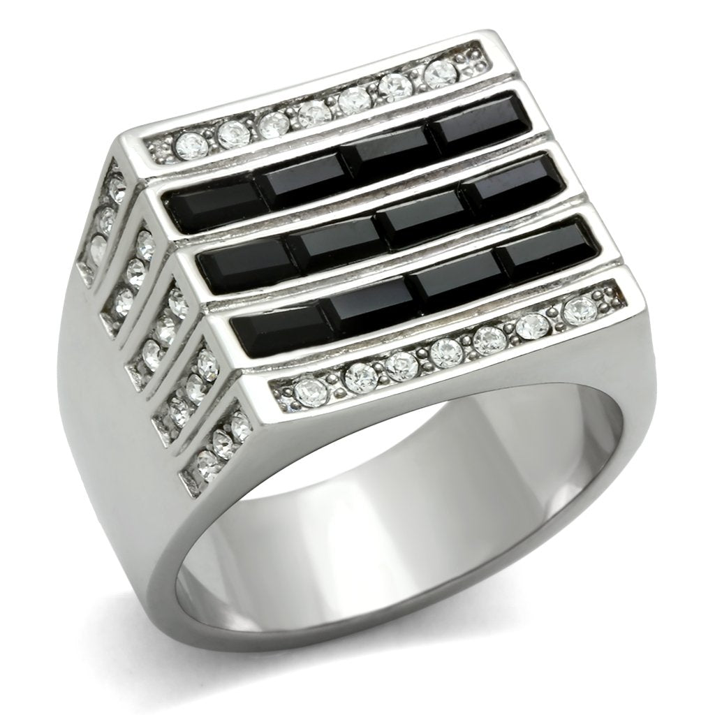 Silver Synthetic Crystal Ring Black