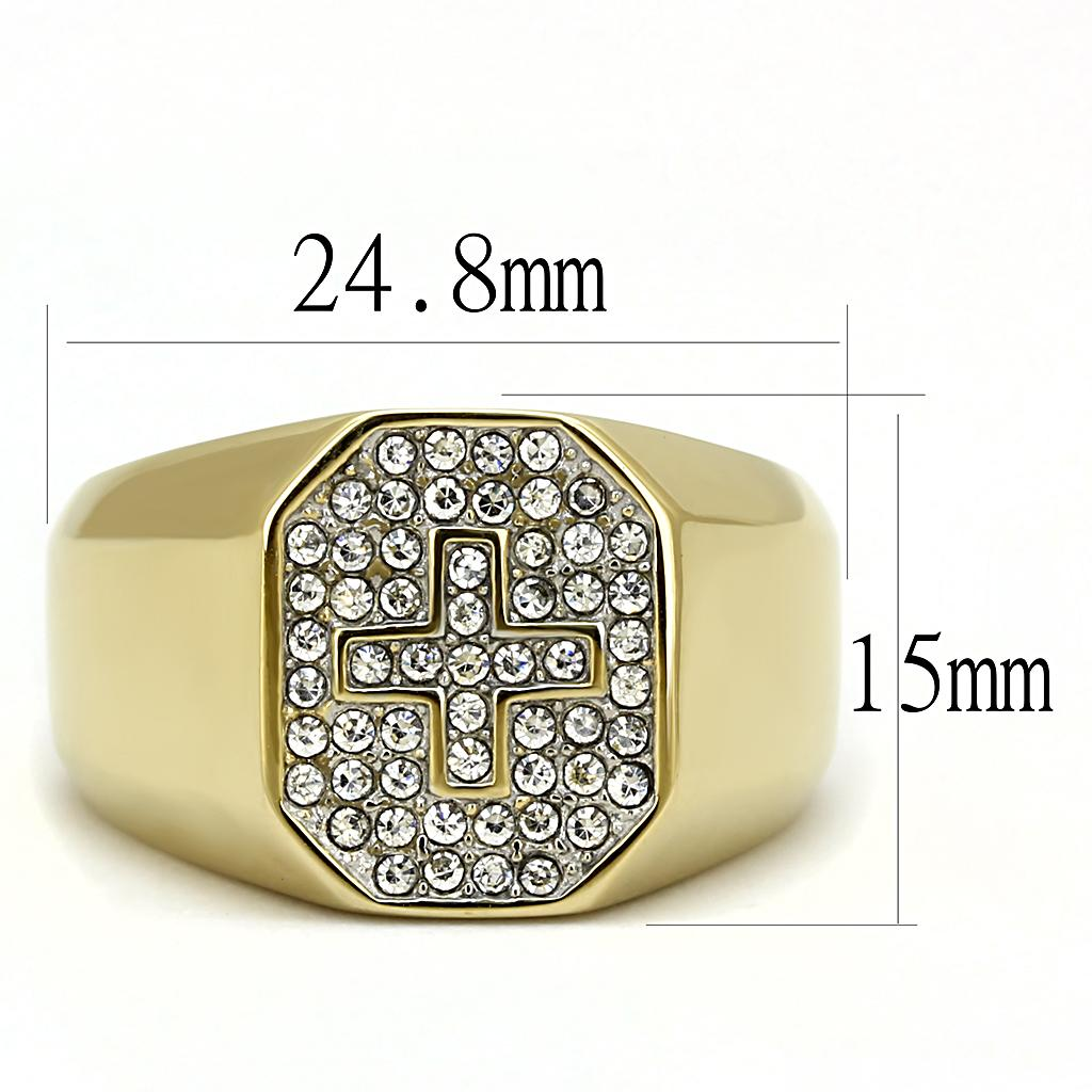 Men's Gold X Diamond Crystal Ring